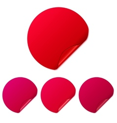 Set of red round stickers vector image