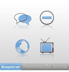 Simple blue-grey new media globe tv stop sign talk vector image