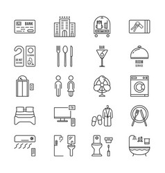 thin line icons set hotel and rest vector image vector image
