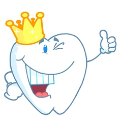Tooth Character Wearing A Crown vector image