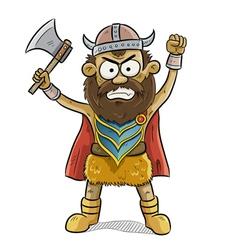 angry viking man vector image vector image