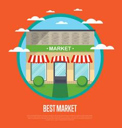 best market banner in flat design vector image