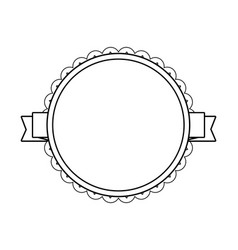 Black circle label with lacy border vector
