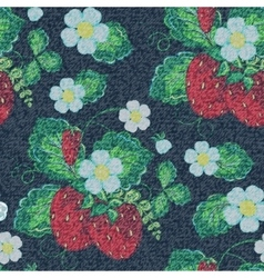Jeans strawberry background colorful vector image