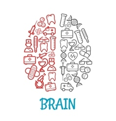Medical sketch icons shaped as human brain symbol vector image