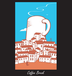 scene with a cup of coffee in town vector image