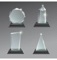 Empty glass trophy awards set vector image vector image