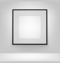 empty white poster black frame on wall with floor vector image vector image