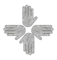 hands human around icon team vector image
