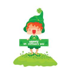 happy st patricks day leprechaun greeting sign vector image