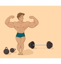 muscular man bodybuilder - inflated athlete in vector image vector image