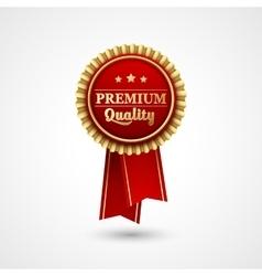 Red Color award badge and ribbon vector image