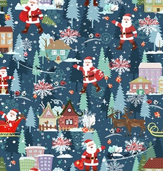 seamless texture with christmas cityscape vector image