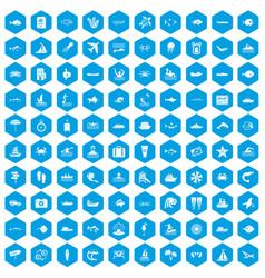 100 ocean icons set blue vector