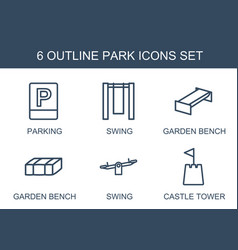 6 park icons vector