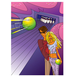 a boy and girl playing bowling vector image