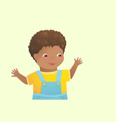 African american toddler kid boy happy cartoon vector