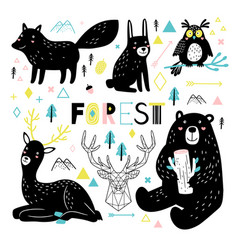 animals in scandinavian vector image