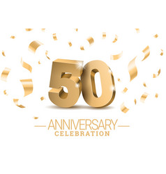 Anniversary 50 gold 3d numbers vector