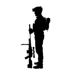 Army soldier with sniper rifle on duty silhouette vector