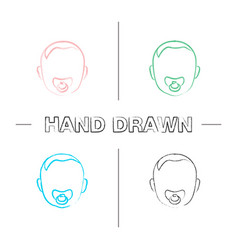 baby face with pacifier hand drawn icons set vector image