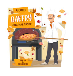 Baker baking pizza and bread bakery pastry shop vector
