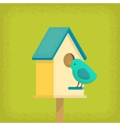 Bird and birdhouse vector