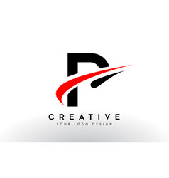 Black and red creative p letter logo design with vector