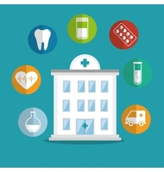 building hospital care service icons vector image
