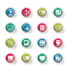 Business and office icons over colored background vector
