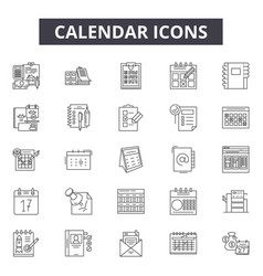 calendar concept line icons signs set vector image