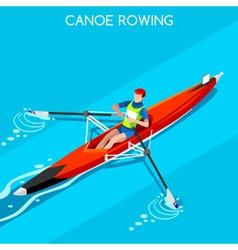 Canoe rowing single 2016 summer games 3d vector