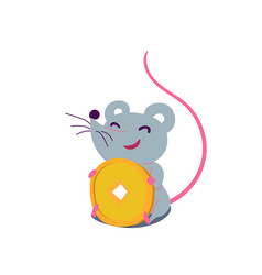 cartoon cute rat in simple flat style sitting and vector image