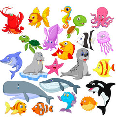 cartoon sea life collection set vector image
