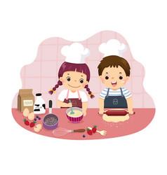 Cartoon siblings baking together vector