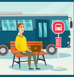 Caucasian man waiting for a bus at the bus stop vector