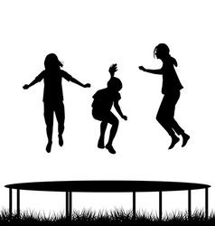 Children silhouettes jumping on garden trampoline vector