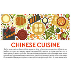 Chinese cuisine banner template with traditional vector