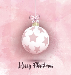 Christmas bauble on a pink watercolor background vector