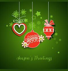 christmas decorations in red and green vector image