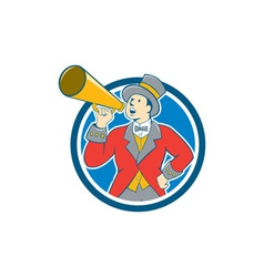 Circus ringmaster bullhorn circle cartoon vector