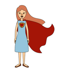 Color image caricature full body super hero woman vector