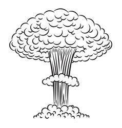 Comic style nuclear explosion on white background vector
