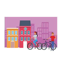 couple in bicicles cityscape vector image