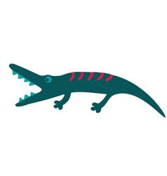 Crocodile flat color on white vector