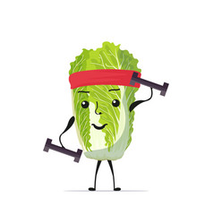 cute fresh green chinese cabbage character vector image