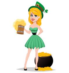 Cute lady in leprechaun costume standing near pot vector