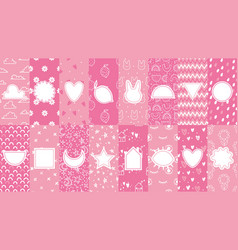 cute patterns with badges pink pattern for little vector image