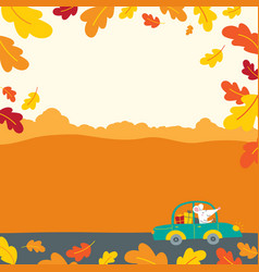 decorated with autumn oak leaves vector image