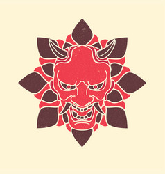 Demon japanese mask vintage vector